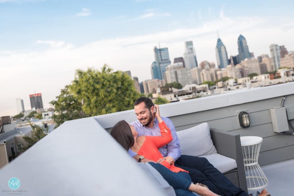 Philadelphia Rooftop Engagement Session