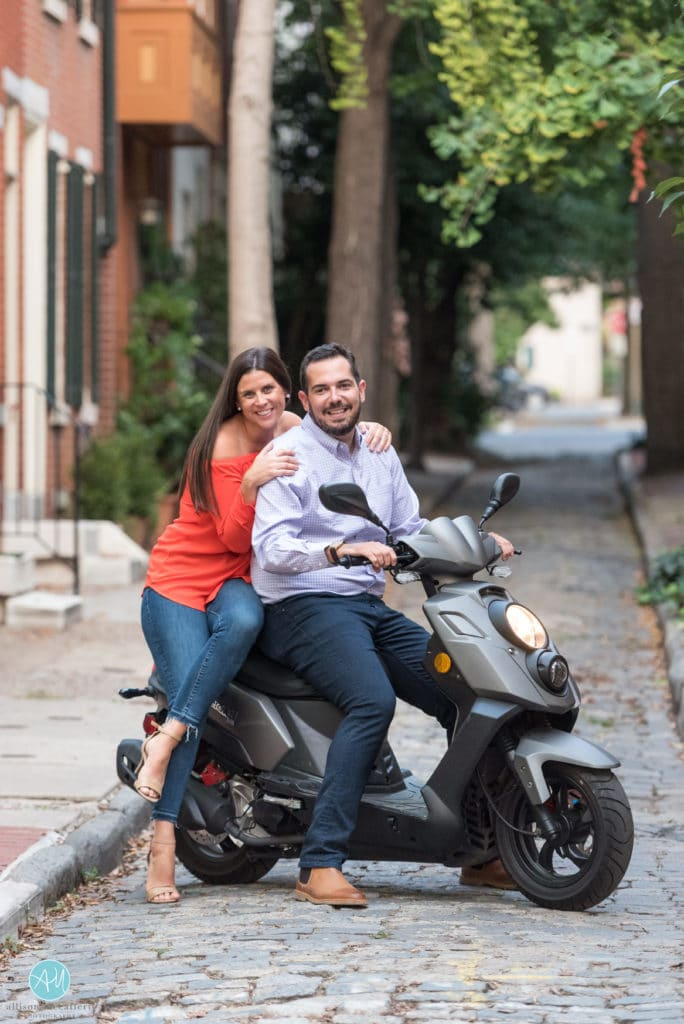 Engagement Session in Philly with a scooter