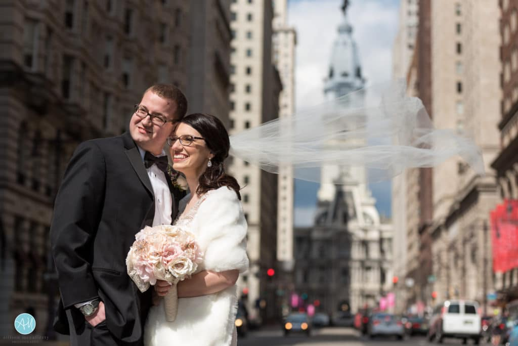 windy wedding day broad street philadelphia