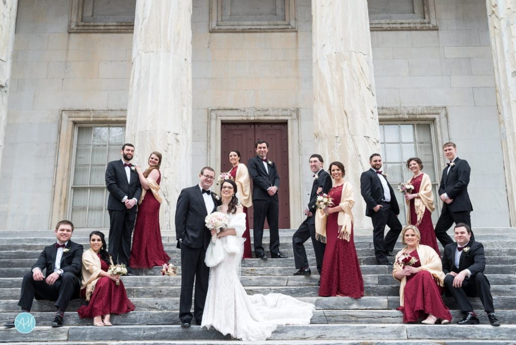 bridal party photo on steps of second bank philadelphia