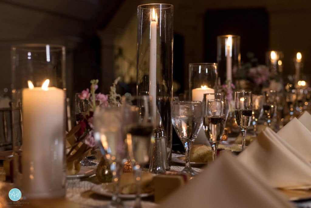 candlelit tables at a wedding in philadelphia