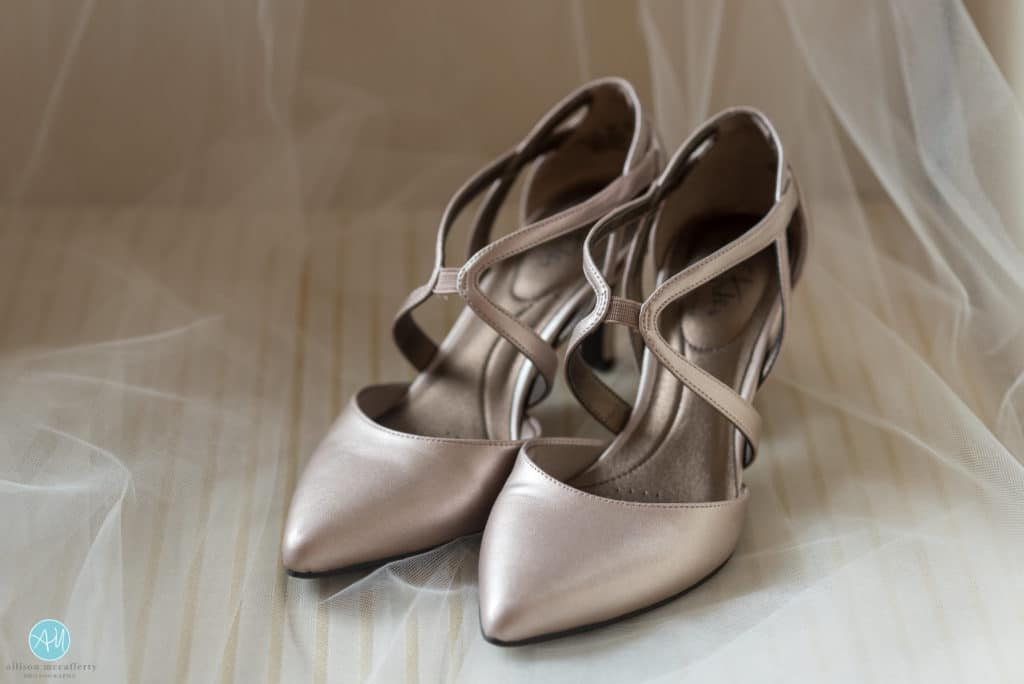 rose gold stride rite shoes for a bride