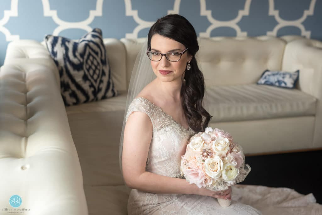 bridal portrait in the hotel monaco in philadelphia