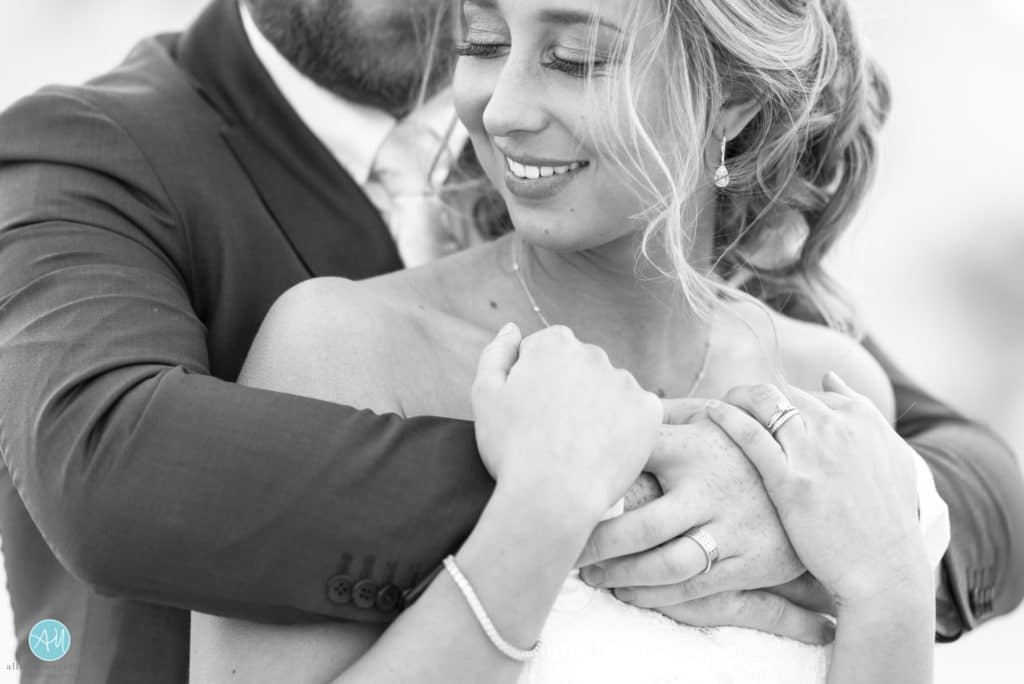 black white picture bride and groom