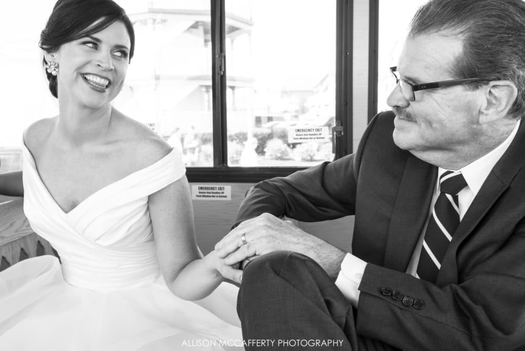 Bride and Father holding hands on the trolley