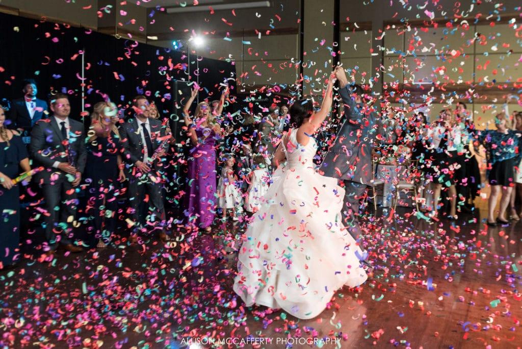 Confetti entrance at a wedding