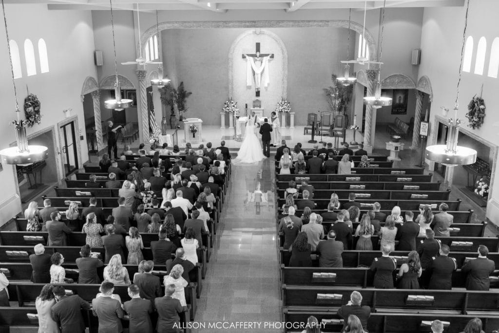 black and white photo of wedding chapel