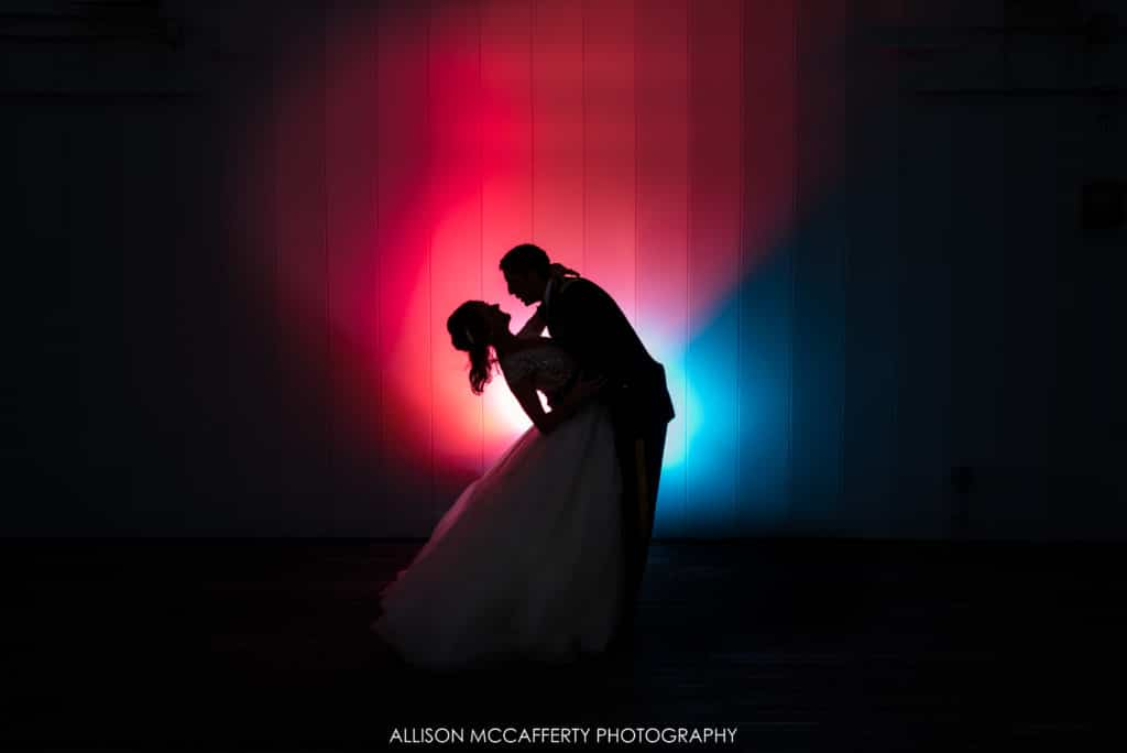 One Atlantic Wedding Photos red and blue lit silhouette wedding photo