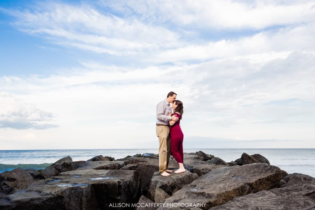NJ beach engagement photo on jetty