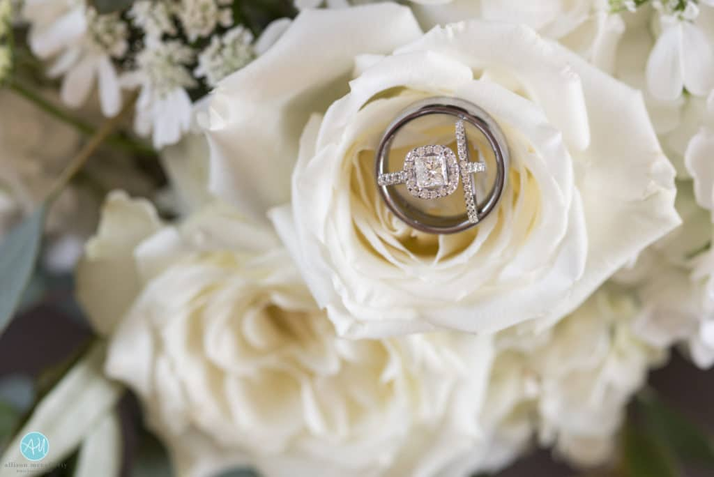 Wedding rings in bridal bouquet