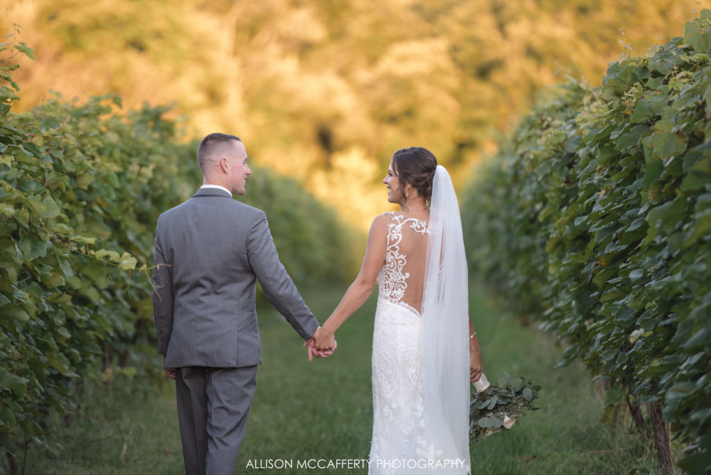 Wedding photos in a winery