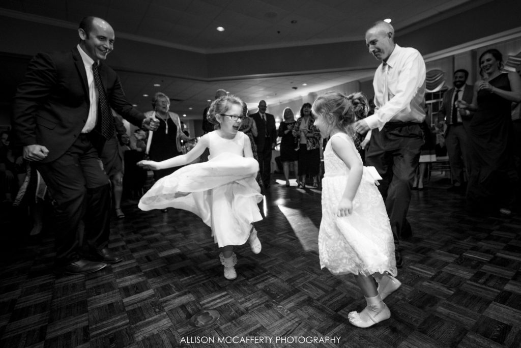 Flower girls dancing at Springfield Country Club