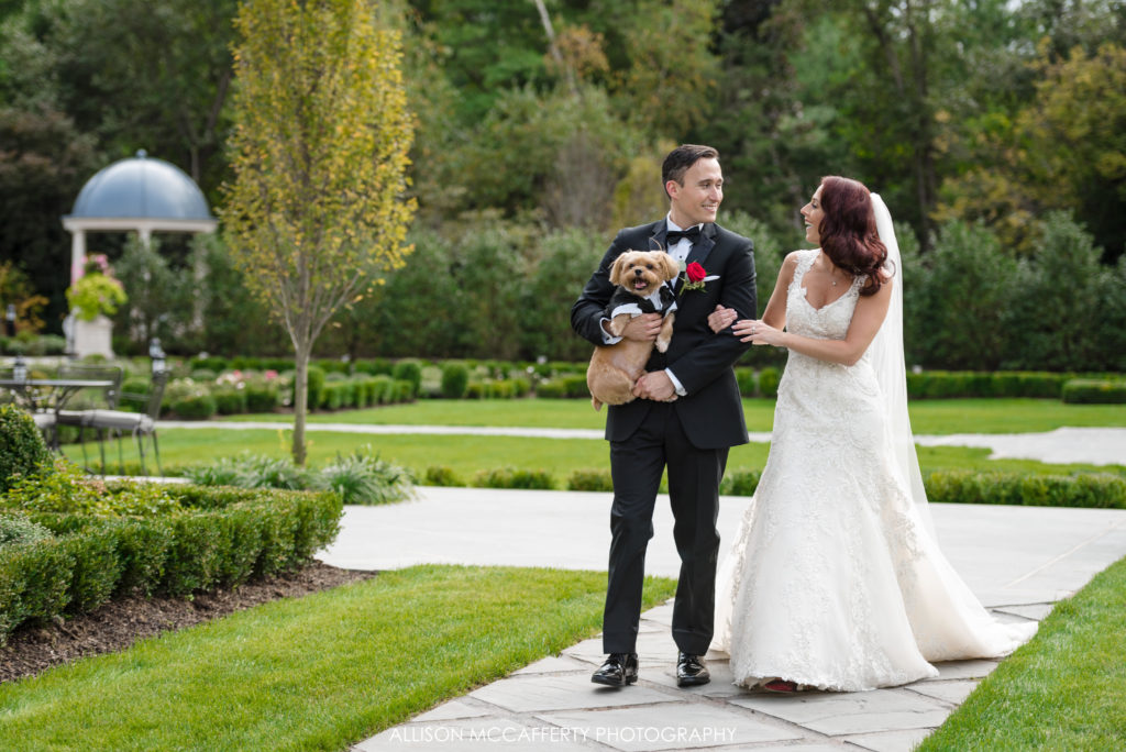Bride and Groom with their dog at Park Chateau