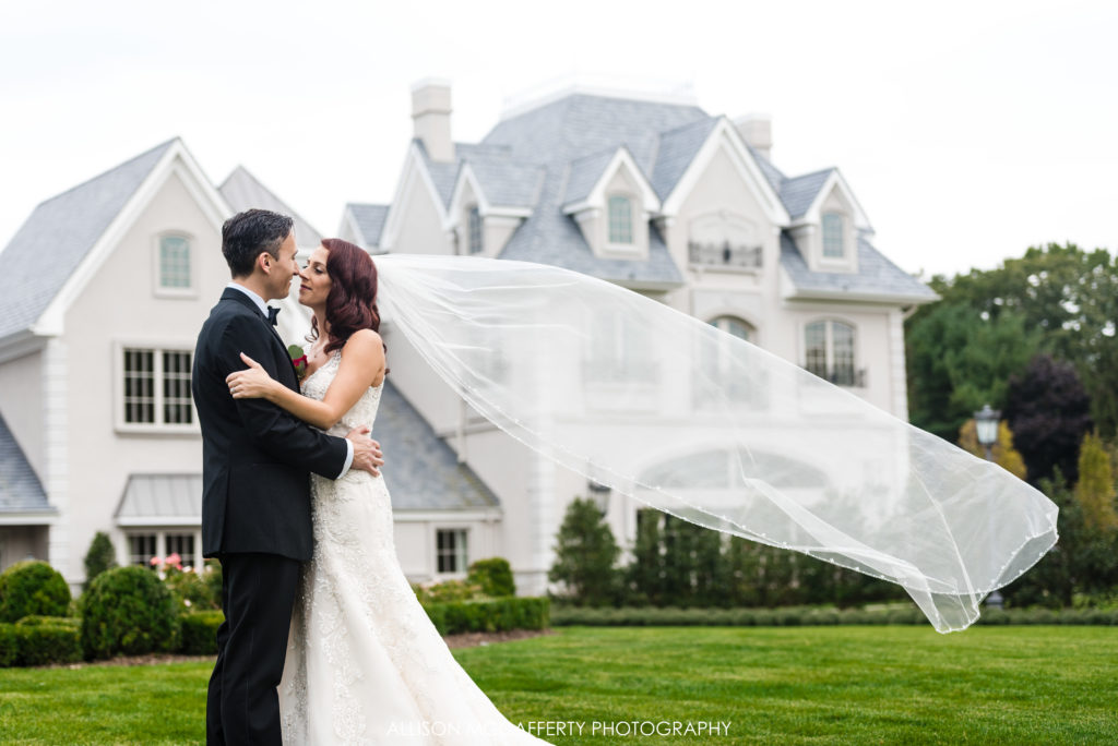 Long veil in front of Park Chateau New Brunswick NJ