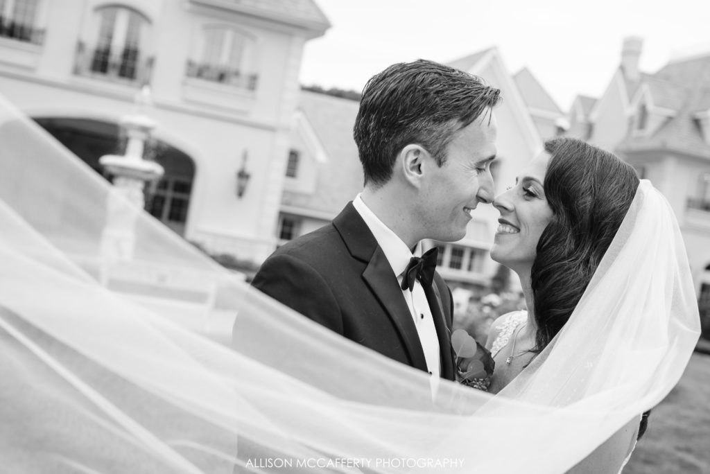 Wedding photos in front of Park Chateau New Brunswick