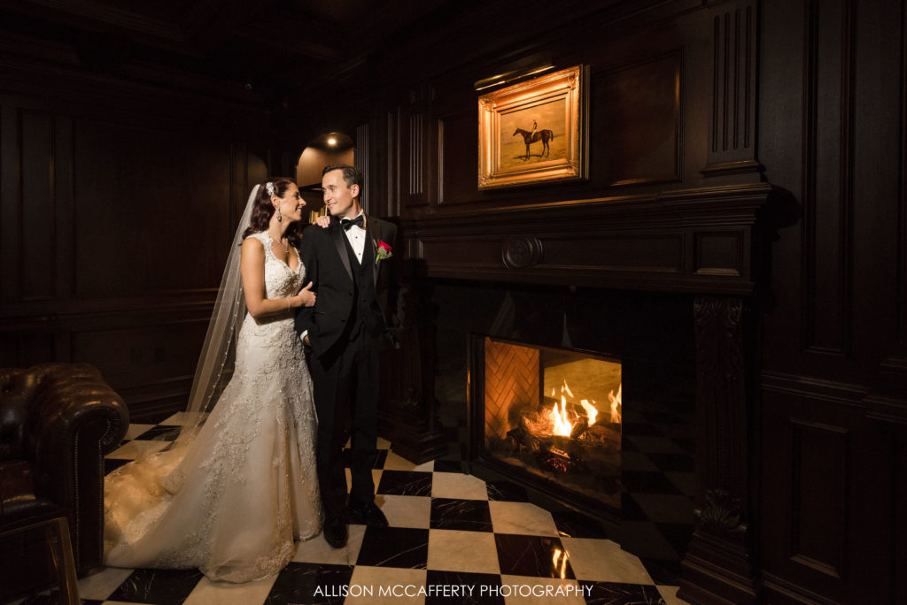 Park Chateau library wedding photo