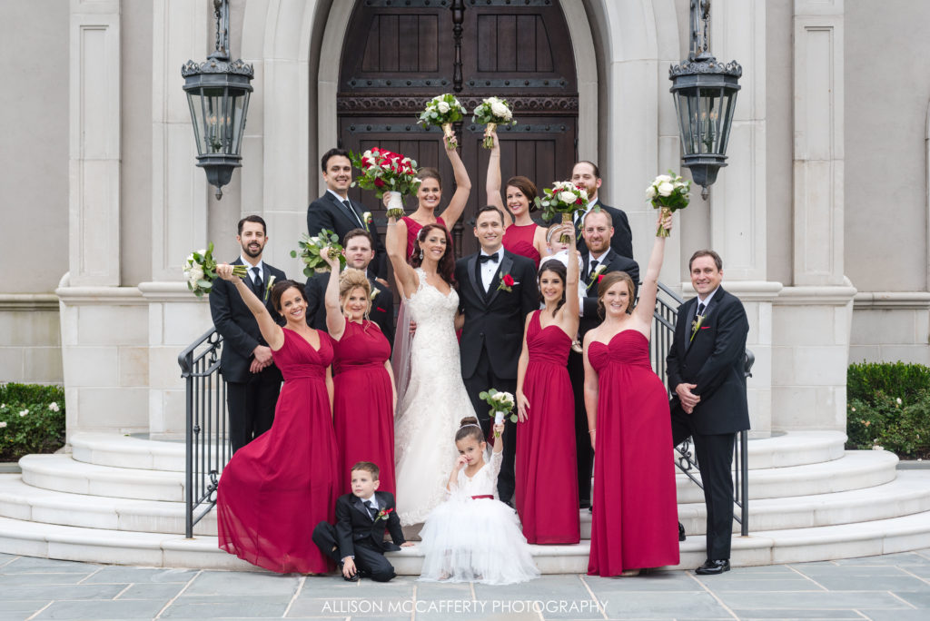 Bridal party photo in front of the Park Chateau NJ