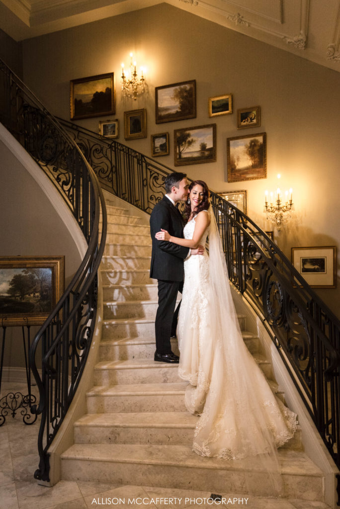 Wedding portrait on the grand staircase at the Park Chateau in New Brunswick NJ