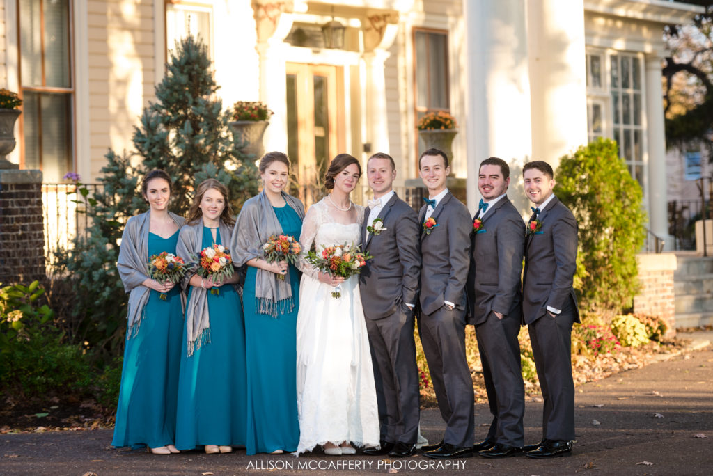 Bridal party in front of the Collingswood Grand Ballroom