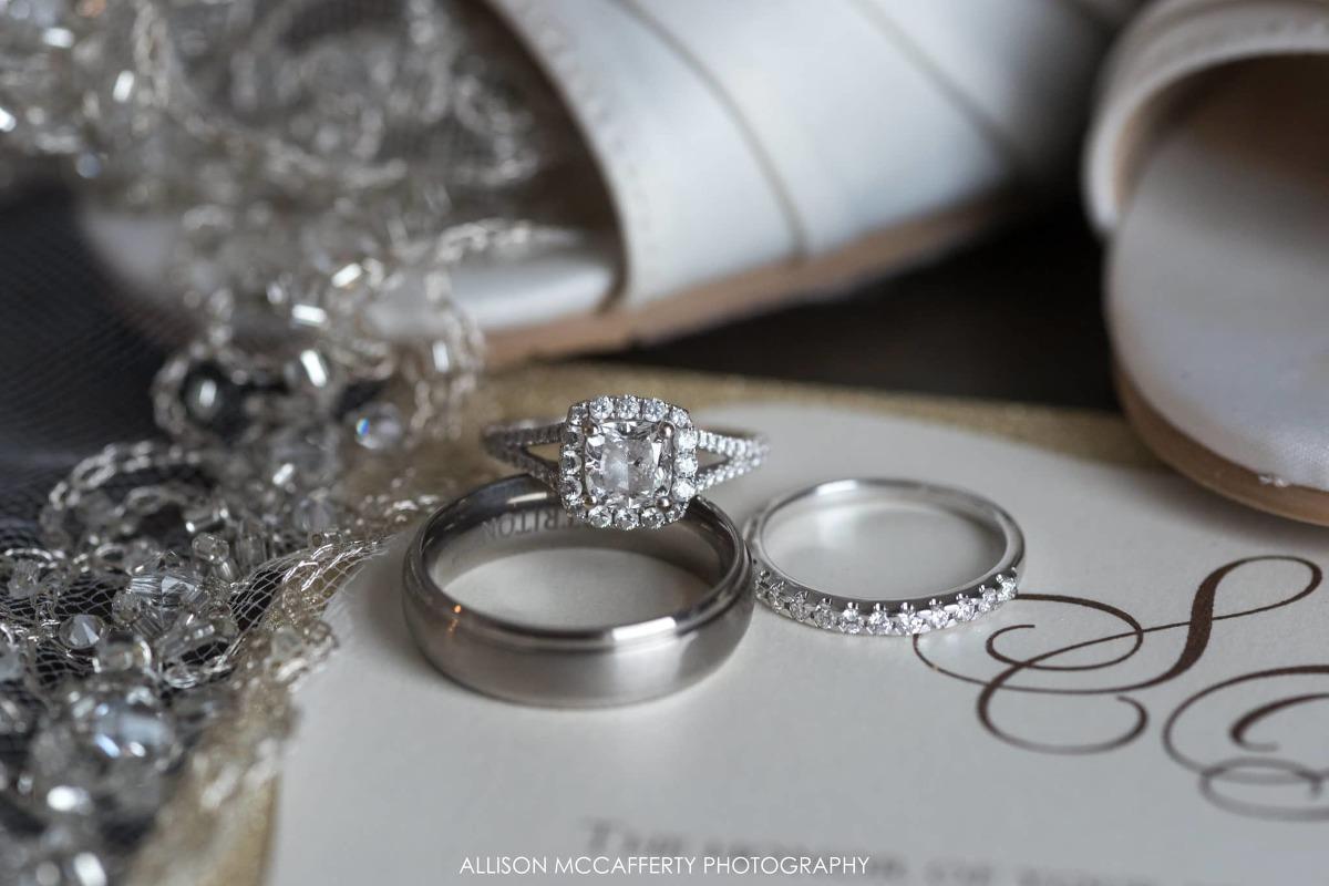 Wedding rings on top of invitation