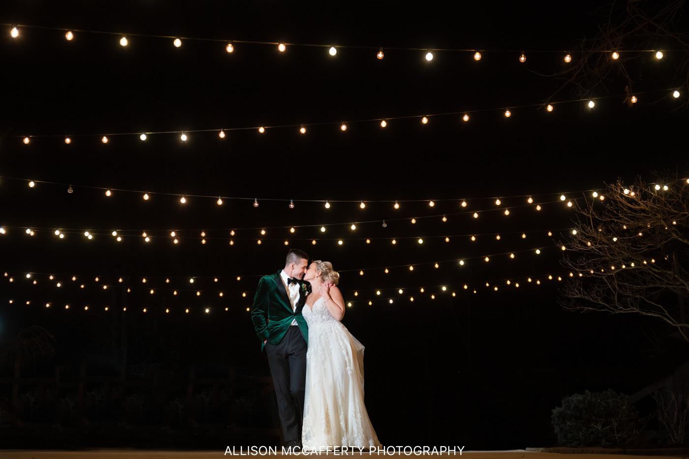 Wedding Photo Done Under String Lights at Hamilton Manor