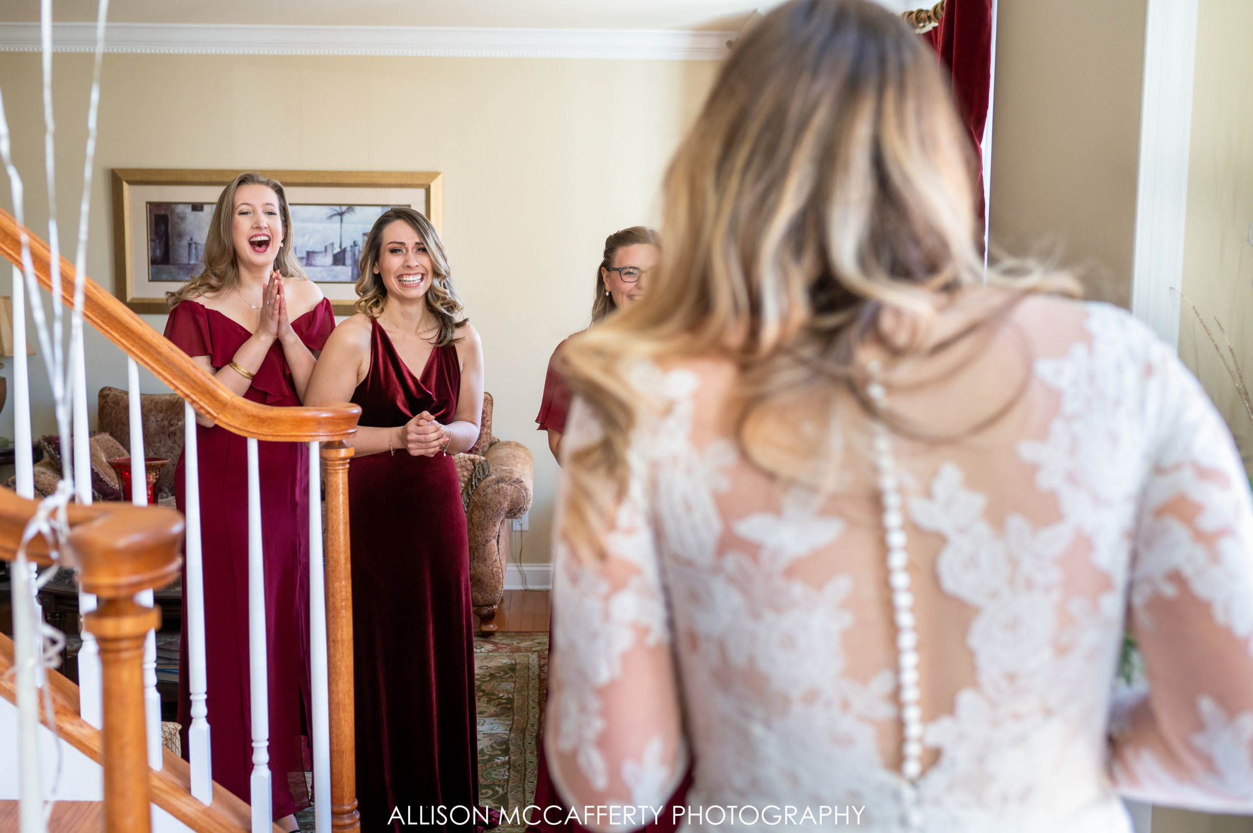 First Look with Bridesmaid Photos