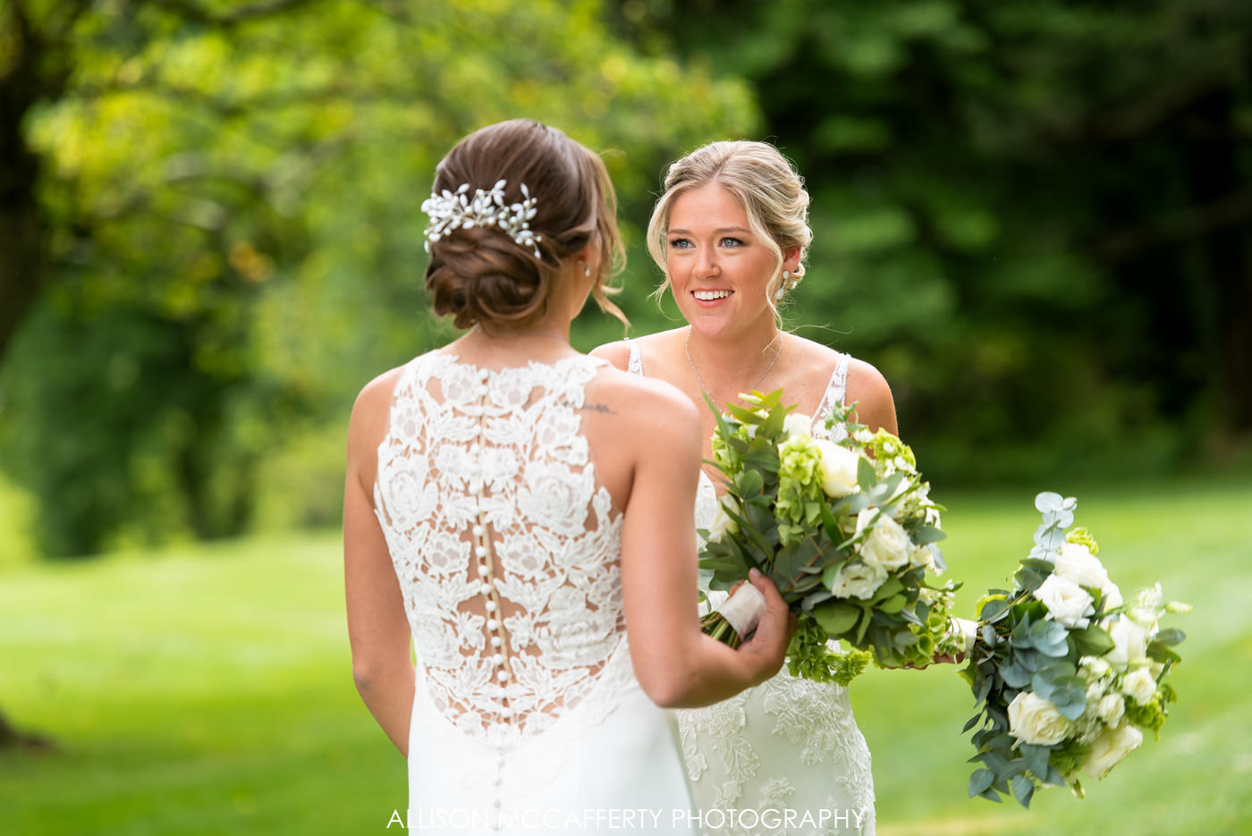 Woodcrest Country Club First Look Photos with Two Brides